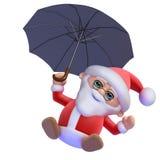 3d Santa Claus flyger isolerat på vit Arkivbilder