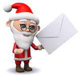 3d Santa Claus gets mail. 3d render of Santa Claus with an envelope Stock Photo