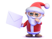3d Santa Claus gets mail. 3d render of Santa Claus holding an envelope Royalty Free Stock Photo