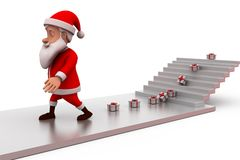 3d santa claus gift on stairs concept Royalty Free Stock Photos