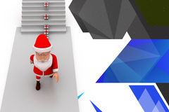 3d santa claus gift on stairs illustration Stock Photos