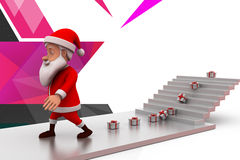3d santa claus gift on stairs illustration Stock Photo