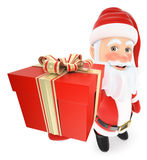 3D Santa Claus with a gifts with a ribbon Royalty Free Stock Photos