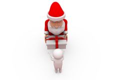 3d santa claus give gift concept Royalty Free Stock Images