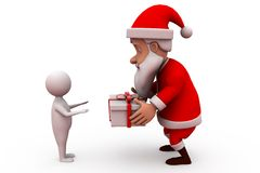 3d santa claus give gift concept Royalty Free Stock Image