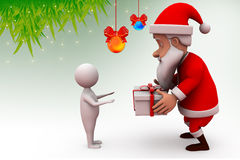 3d santa claus give gift illustration Royalty Free Stock Images
