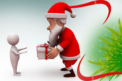 3d santa claus give gift illustration Stock Photography