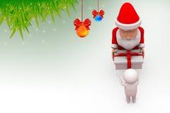 3d santa claus give gift illustration Royalty Free Stock Image