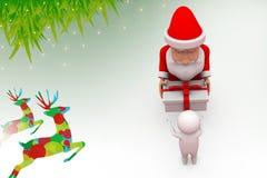 3d santa claus give gift illustration Stock Photo