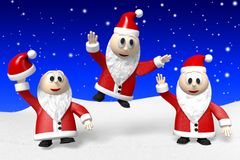 3D 3x Santa Claus/glad jul! royaltyfri illustrationer
