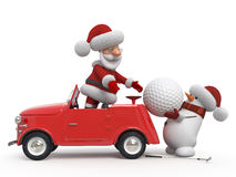 3d Santa Claus  golfer by car Stock Photography