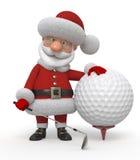3d Santa Claus-golfspeler Stock Foto