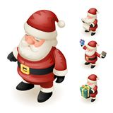3d Santa Claus Grandfather Frost Hold Gift Box Paper Scroll Cute Isometric Christmas New Year Cartoon Design Characters Stock Image