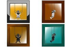 3d santa claus gymnast icon Stock Images