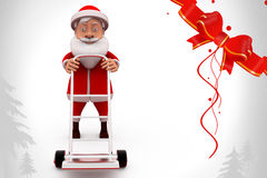 3d santa claus hand truck illustration Royalty Free Stock Photography
