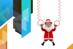 3d santa claus hanging on spring illustration Royalty Free Stock Photography