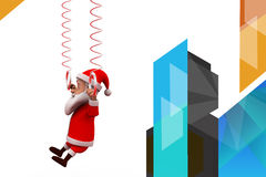 3d santa claus hanging on spring illustration Royalty Free Stock Photos
