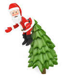 3D Santa Claus hanging from the top of a fir incredulously Stock Images