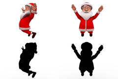 3d santa claus happy jump concept  collections with alpha and shadow channel Royalty Free Stock Images