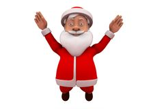 3d santa claus happy jump concept Royalty Free Stock Image