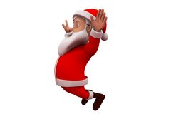 3d santa claus happy jump concept Stock Photos
