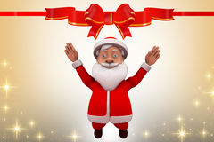 3d santa claus happy jump illustration Royalty Free Stock Images
