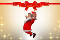 3d santa claus happy jump illustration Stock Photography