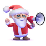 3d Santa Claus har en megafon stock illustrationer