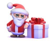 3d Santa Claus har en stor gåva Arkivbild