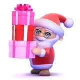3d Santa Claus har massor av gåvor Arkivbilder