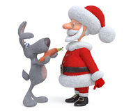 3d Santa Claus and hare with carrot Stock Images