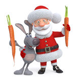 3d Santa Claus and hare with carrot Royalty Free Stock Photo