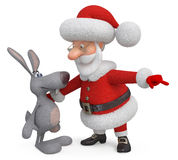 3d Santa Claus and hare Royalty Free Stock Images