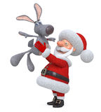 3d Santa Claus and hare Stock Photos