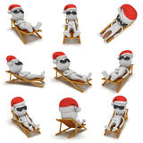 3d Santa Claus having a rest. Set. 3d Santa Claus having a rest on chaise lounge isolated on white background. Christmas vacation concept set. Collection for Royalty Free Stock Photography