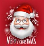 3D Santa Claus Head Greeting Merry Christmas realistica Immagini Stock Libere da Diritti