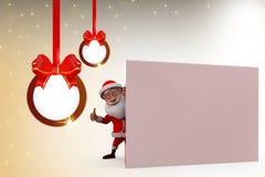 3d santa claus hide wall illustration Stock Images