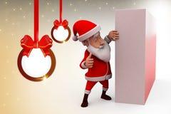 3d santa claus hide wall illustration Royalty Free Stock Images