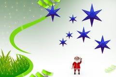 3d santa claus holding blue star illustration Stock Photography
