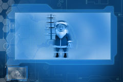 3d santa claus holding gift concept Stock Photo