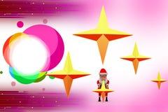 3d santa claus holding stars illustration Royalty Free Stock Photo