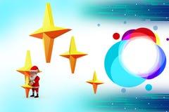 3d santa claus holding stars illustration Stock Photos
