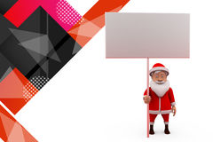3d santa claus holding white board illustration Stock Images