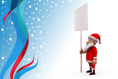 3d santa claus holding white board illustration Stock Photography