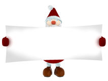 3D Santa Claus holding a white paper Royalty Free Stock Photos