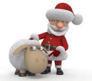 3d Santa Claus with a lamb Stock Photos