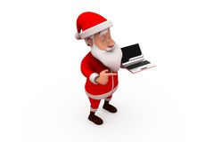 3d santa claus laptop concept Royalty Free Stock Image