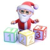 3d Santa Claus le enseña a contar Fotos de archivo