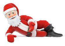 3D Santa Claus lying pointing down Royalty Free Stock Photo