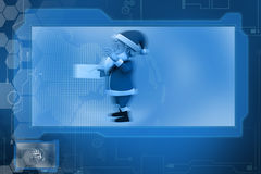 3d santa claus with mail concept Stock Image